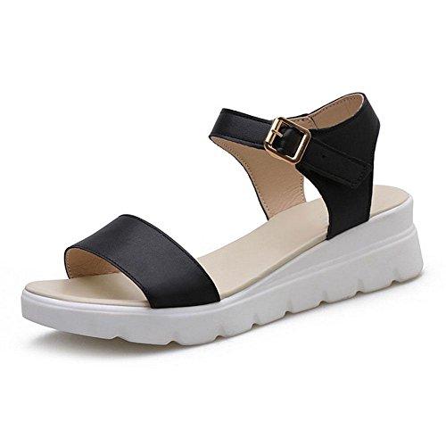 sandali fibbia scarpe scarpe comode con toe Word donne Black selvaggia basse open studenti spiaggia casual Sq5wqRF1