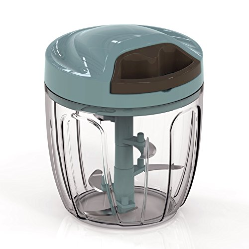 Manual Food Chopper Vegetable Chopper 5 Blades Manual Food Processor Onion Chopper Garlic Chopper Blender Meat Mincer Fruit Onion Garlic and Herb Slicer for Salad Pesto Coleslaw Food Puree 900ml