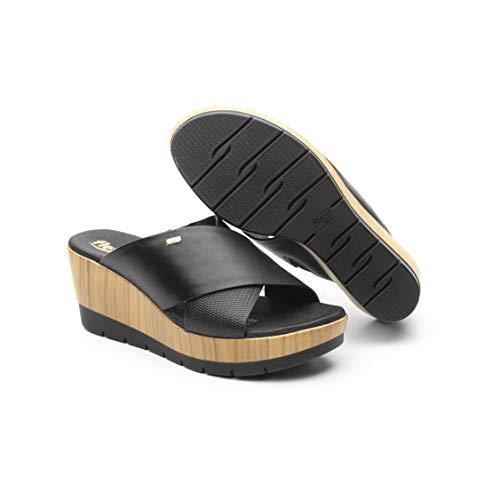 Flexi BELANOVA Women's Genuine Leather Slip-on Wedge Sandals, Black | 44510 (8.5) Black Wedge Slip Ons