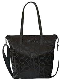 Calvin Klein Signature Bag Black Nylon Tote Handbag Purse
