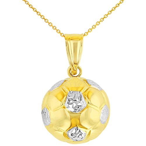 High Polished 14K Yellow Gold Soccer 3D Ball Charm Sports Pendant Necklace, 18