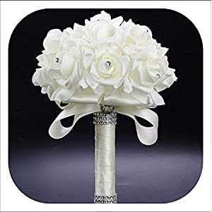 mamamoo Cheapest PE Rose Bridesmaid Wedding Foam Flowers Rose Bridal Bouquet Ribbon Fake Wedding 9 Color S30,Ivory 112