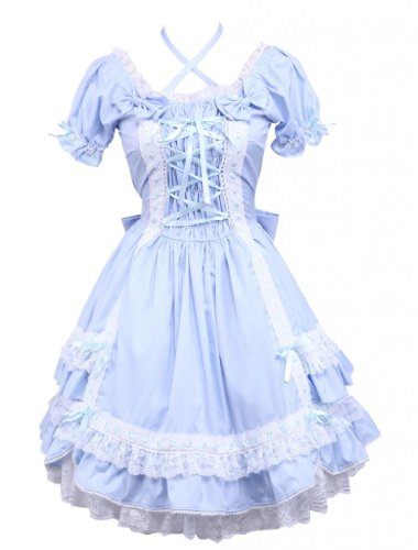 M4U Womens Classic Short Sleeves Cotton Lolita Dress with Bow Lace, Blue