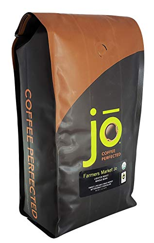 FARMERS MARKET JO: 2 lb, Light Medium Roast, Whole Bean Arabica Coffee, USDA Certified Organic, NON-GMO, Fair Trade Certified, Gluten Free, Gourmet Coffee from Jo Coffee