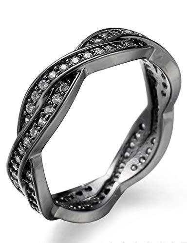 Aivdoirla Cubic Zirconia Rings Twist Fate 2 Bands Promise Ring Love Wedding Jewelry Copper with Black Gold Plated Diamond CZ Eternity Rings for Women Sizes 6-10 (Size7)