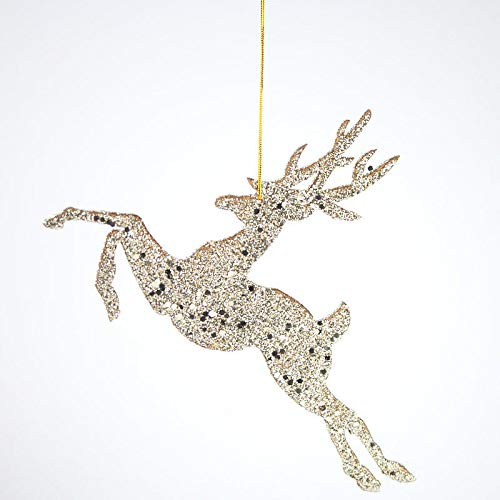 Factory Direct Craft Platinum Glittered Leaping Deer Ornament   6 Pieces