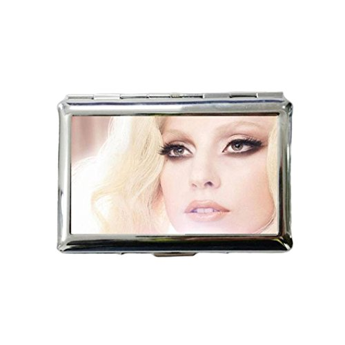 Lady Gaga Custom Style Classic Metallic Silver Color Stainless Steel ID Cigarette Case Holder Credit Card RFID Protective Security - Style Gaga