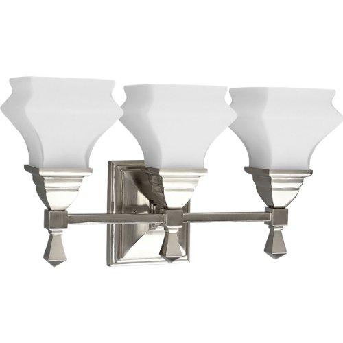Progress Lighting P3297-09 3-Light Bath Fixture, Brushed Nickel
