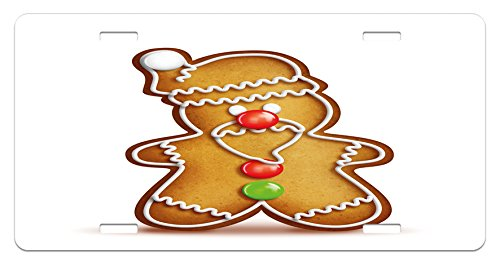 (Ambesonne Gingerbread Man License Plate, Whimsical Cartoon Santa Gingerbread Man with Bonbon Candies, High Gloss Aluminum Novelty Plate, 5.88 L X 11.88 W Inches, Pale Brown Red Green)