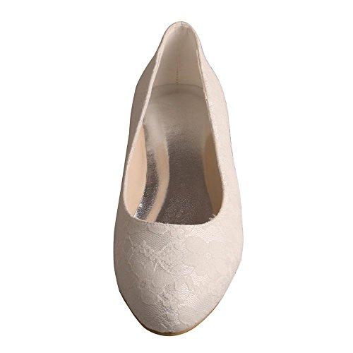 con MW403 color punta Wedopus ballet de tacón cerrada de vestir Zapatos mujeres con novia para bajo Pisos marfil de encaje de de rIdnqdwR
