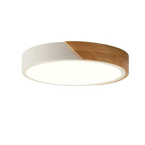 Sheen Madera Redondo Led 24w Lámpara de techo,Montaje empotrado Ultradelgado Plafón lámpara 16