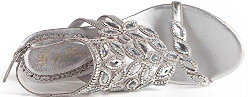 Salabobo L035 Womens Sexy Heels Sandals Glaring Rhinestone Beautiful Pretty Performance Stilettos Wedding Dress Bride Bridemaid Party Work Job Leisure Shoes Silver(cone) 62LLt2