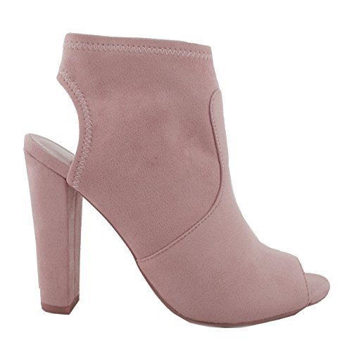 Ankle Toe high Bootie Black Chunky Out Peep heel Women's Cut Mauve IMSU Z DU 0wX5q8Cx