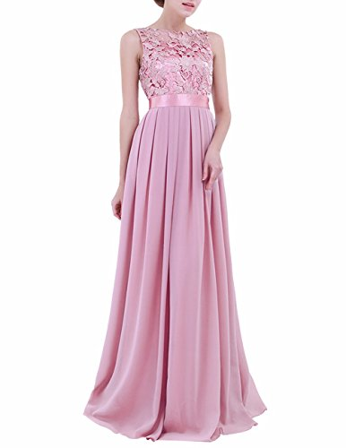 - FEESHOW Women's Floral Lace Appliques Chiffon Wedding Bridesmaid Long Dress Prom Evening Gowns Plum 12