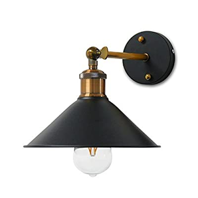 Lemonbest Modern Vintage Industrial Loft Rustic Wall Sconce Light Retro Wall Lamp with led bulb warm white
