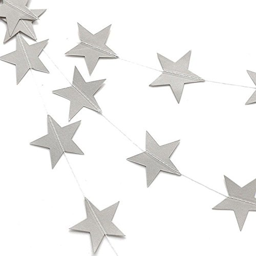 - DegGod Silver Sparkle Star Garland, Twikle Paper Five-pointed Star Garland Banner Bunting Hanging Party Table Wall Ceiling Decoration Supplies - Set of 2 (4 Meter each, Silver)