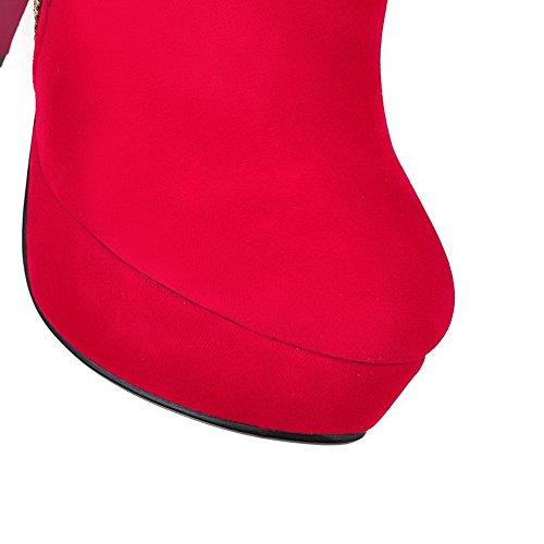 AllhqFashion Mujeres Tacón Alto Sólido Puntera Redonda Esmerilado Cremallera Botas Rojo
