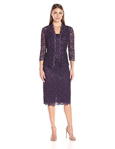 Alex Evenings Women's 12 Tea Length Dress and Jacket (Petite and Regular Sizes), Eggplant, 12