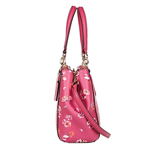 Wildflower Carryall Leather Dahlia Coach in Christie Crossgrain F8xz56Xqw
