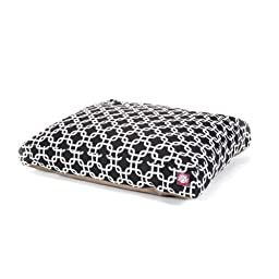 Black Links Medium Rectangle Indoor Outdoor Pet Dog Bed With Removable Washable Cover By Majestic Pet Products