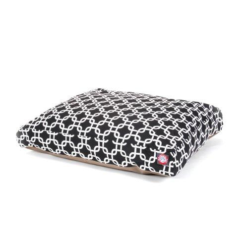 Black Links Medium Rectangle Indoor Outdoor Pet Dog Bed With