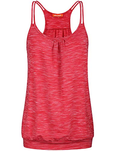 Blevonh Red Tank Tops for Women Ladies Running Shirt Sleeveless Round Neck Banded Hem Comfortable Stylish Basic Layered Gym Athletic Workout Camisole Summer Tops M