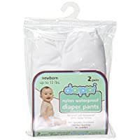 Dappi Waterproof 100% Nylon Diaper Pants, 2 Pack, White, Newborn