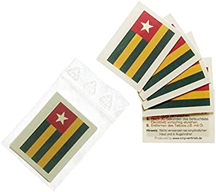 Togo temporary tattoo Flag 5 5 x Togo Tattoo Fan Fahnen Set