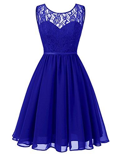 Alagirls Des Femmes De Robes De Demoiselle D'honneur Courte En Mousseline De Soie Voir À Travers Les Robes De Soirée De Mariage De Dentelle Bleu Royal