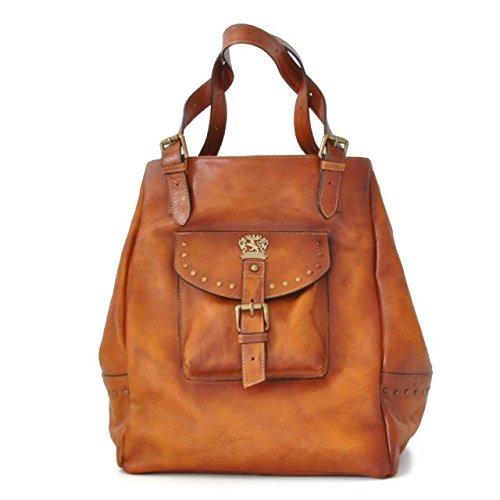 Pratesi Womens Italian Leather Woman Bag Talamone in Cow Leather in Cognac