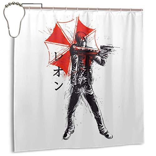 ENXIANGXIJ Waterproof Polyester Fabric Shower Curtain Red Sun Leon Resident Evil Print Decorative Bathroom Curtain with Hooks,72