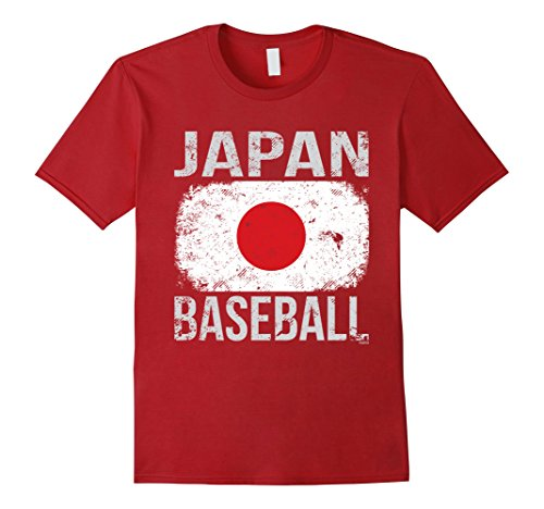 Mens Japan Baseball, Japanese Flag T-Shirt Large Cranberry