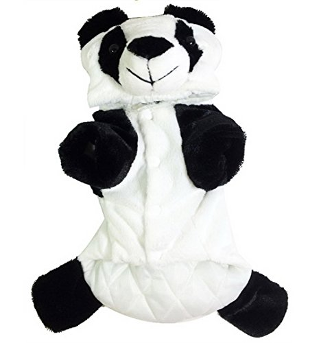 SMALLLEE_LUCKY_STORE Small Dog Animal Button Front Winter Panda Hooded Pajamas for Girls/Boys, White, Medium