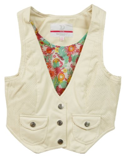 (Dollhouse Juniors PU Imitation Leather Vest with Floral Lining - Ivory White (Medium))
