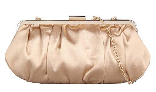 Grace Angel Women's Pleated Satin Evening Party Handbag Dress Bags GA5775 (Gold)