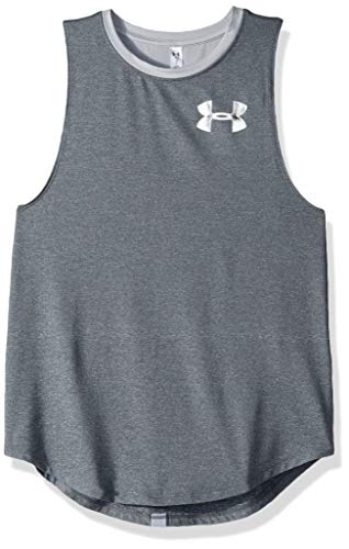 Under Armour HeatGear Armour Tank, Pitch Gray Light Heather//White, Youth Large