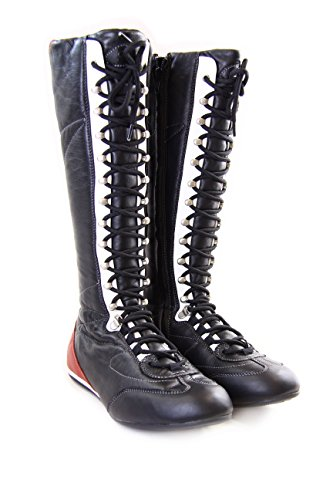 Fornarina Vintage Leather High Boots with Strings and Zipper PIFLI3743WC (41, black)