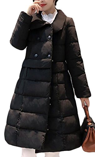 GAGA Women's Long Sleeve Collar Double-Breasted A-Line Plus Size Puffer Down Long Coat Black L - Collar A-line Coat