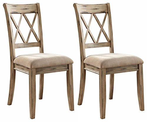 Ashley Furniture Signature Design - Mestler Dining Side Chair - Upholstered Seat - Set of 2 - Antique White (Set Antique Dining Table White)