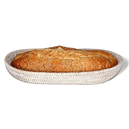 - Saffron Trading Company Oval Bread Basket - White Wash