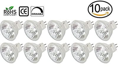 [10 Pack] Simba Lighting™ 20 Watt MR11 GU4 Bi-Pin Halogen Bulbs with Cover Glass 12V Fiber Optic 20W FTD 2-Pin Lamp