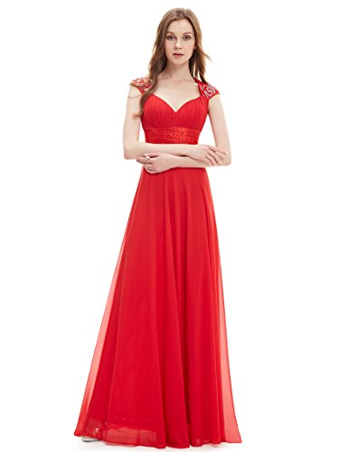 Ever Pretty mujer gasa Sexy cuello en V Volantes Empire línea de vestido de fiesta 09672 Rojo