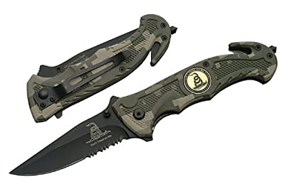 """R-80-CA. Trigger Assist 8"""" Tactical Knife """"Don't Tread On Me""""- Digi Camo Trigger Assisted Tactical Folder 'Don't Tread On Me' Green Digital Camo 8"""" Drop-Point Blade. Half-Serrated. With Window Breaker and Seat Belt Cutter High Quality Rescue knife that is"""