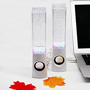 Aolyty Colorful LED Dancing Water Fountain Light Show Sound Speaker for iPhone iPad Laptops Smartphone White