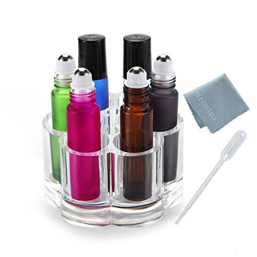 Simple_e- 10 ml(1/3oz) Roll on Glass Bottle Set of 6 Blue,Black,Brown,Pink,Green for Essential Oil Empty Aromatherapy Perfume Bottle - Refillable with Stainless Steel Roller Ball + Crystal Holder