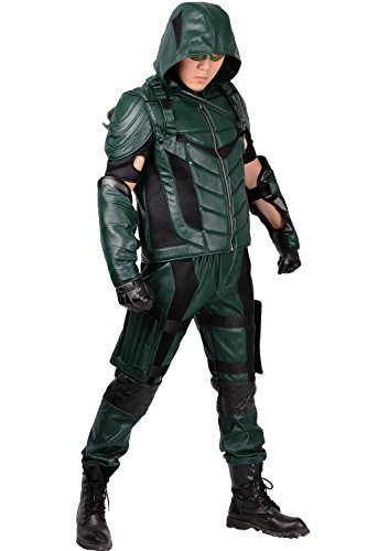 Green Arrow Costume Mask Outfit Suit for Mens Halloween Cosplay XL (Green Arrow Suit)