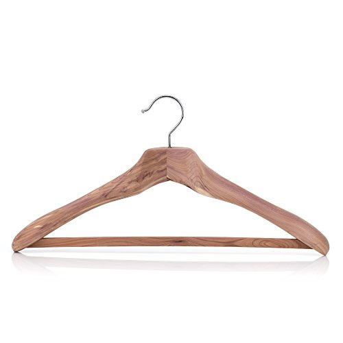 "HANGERWORLD Pack of 5 XL Luxury Strong Cedar Wood Clothes Hanger with Non-Slip Trouser/Skirt Bar - 50cm (20"")"