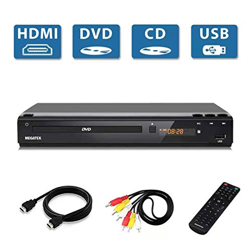Megatek DVD Player for TV, Multi Region Code Free DVD/CD/USB Player, HDMI Full HD 1080p Upscaling, Free 5-Feet HDMI Cable, Progressive-scan Technology, Premium Design Metal Case, Remote Control