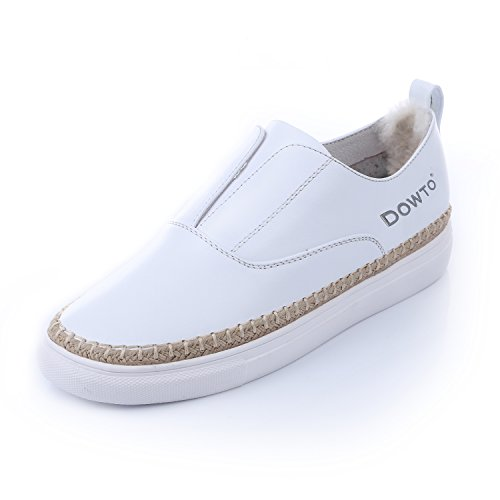 DOWTO Fashion Flat Slip On Loafers Sneakers Casual Shoes for Women white LsGxG