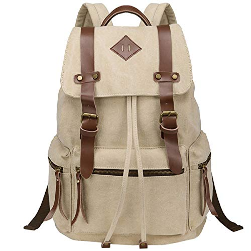 (BeautyWill Vintage Canvas Backpack Rucksack Casual Bookbag Unisex for College Travel Hiking Camping Men Women Student, Beige)